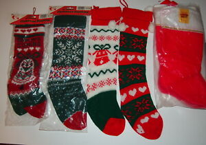 Lot of 8 Assorted Christmas Holiday Stockings Knit and Felt New In Pkg & Out
