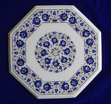 "18"" White Marble Coffee Table Top Dining Garden Furniture Inlay Pietra Dura Art"