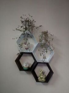 Hexagon Shelf White - 3 pc