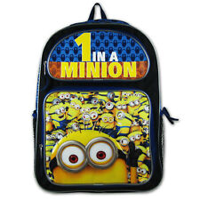 "New Despicable Me Kids Boy Girl School Supplies 16"" Bag Backpack 1 in a Minion"