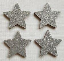 Handmade Set of 4 Wooden Star Sparkly Silver Glitter Print Fridge Magnets