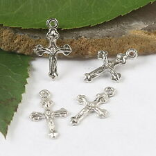 50pcs silver tone free cross charms findings h1766