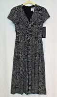 •JESSICA HOWARD• ($129.) DRESS NEW  Empire-waist Sz 4 Black&White Polka-dot NWT.