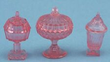 DOLLHOUSE ACCESSORIES CB68P - CANDY DISH SET 3PC PINK
