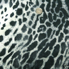 "SOFT FAUX MICROFIBER SUEDE CLOTHES FABRIC VINTAGE LEOPARD SKIN CREAM BLACK 58""W"