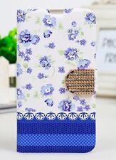 Etui portefeuille housse pour Samsung Galaxy S5 violet bleu fleuri décoré NEUF !