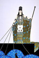 Erte HERA Art Deco Print 1982 Greek GOD Wife of ZEUS Peacocks Mythology Matted