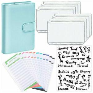 PU Leather Notebook Ring Binder Budget Sheets Planner Pocket Labels A6 Size