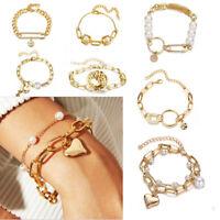 Fashion Gold Bracelet Pearl Tassel Chain Heart Pendant Women Bangle Jewelry