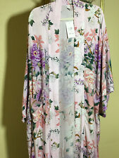 Vintage Gypsy Floral Lily Tie Kimono Maxi Duster Cardigan Coat Robe Coverup