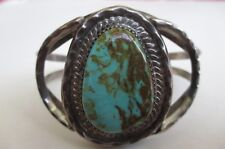Vintage Signed D Native American Turquoise Sterling Silver Cuff Bracelet Indian