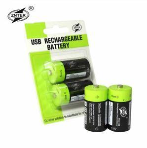 Rechargeable 1.5V C Size 3000mAh Li-Po Battery 5V USB Charging ZNTER Lithium