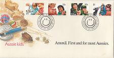 Stamps Australia 1987 Aussie Kids set 4 official FDC AMOXIL medical overprint