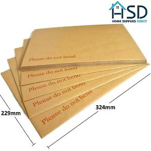 """C4/A4 Hard Board Backed Manilla Envelopes """"Please Do Not Bend"""" Large Letter Peel"""