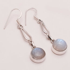Natural Rainbow Flame Moonstone Gems Sterling Silver Women Fine Earring Jewelry
