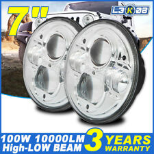 2x 7inch 200W High-Low Beam Round H4 4WD DRL Headlight Offroad LED Driving Light