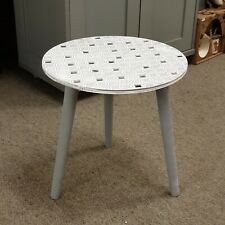 69d59313b1b2d Grey Geometric Table Mirrored Tiles Side Lamp End Table Wooden