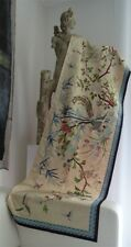 Chinese embroidery on cream silk birds and butterfly