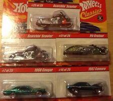 Lot Of 5 Series 1 2004 Hot Wheels Classics Cars Cougar, Camaro, 3 Motorcycles