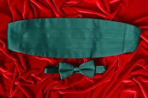 Mens Vintage Pre-Tied Green Satin Adjustable Formal Wear Bow Tie & Cummerbund