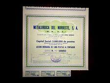 Metalurgica del Noroeste  Share certificate 1952  Spain