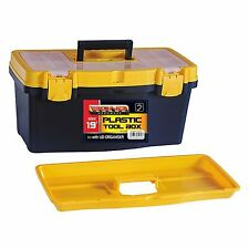"19"" Tool Box DIY Storage Carry With Handle Tray Lockable Sturdy Plastic Toolbox"