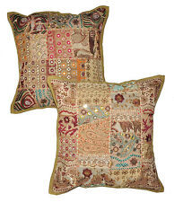 2pc Indian Patchwork throw Pillow Cover, Brown Bohemian Pillow, Vintage Pillows