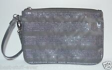 NEW BATH BODY WORKS GREY SPARKLY SEQUIN BAG PURSE MAKEUP COSMETIC CLUTCH WALLET