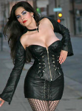 ALTER EGO LEATHER CORSET Size 26 Black Lace Back Zip Front COSPLAY BDSM LARP