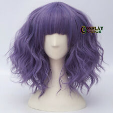Vogue  Purple Lolita Short Curly Fringe Bangs Women Heat Resistant Cosplay Wigs