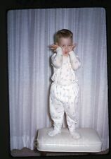 1967 Kodachrome photo slide Happy birthday son   Young boy in pajamas