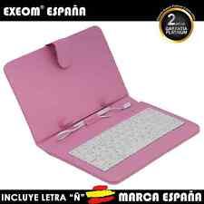 """Funda con Teclado en Español para Tablet Pc 10"""" CoverPAD Rosa Marca España"""