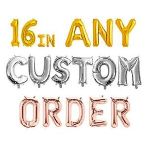 """Rose Gold, Silver, Gold, Red Letters & Number Party Custom Name 16"""" Foil Balloon"""