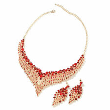 Goldtone Red Crystal Earrings Bib Necklace Jewelry Set Gift Size 20'' Ct 895