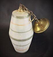 Rare Lampe suspension Vintage en verre déco liseré opale orange kaki blanc 1950