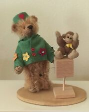 "DEB CANHAM ""THE ORGAN GRINDER""  MINIATURE BEAR WITH TINY MONKEY-MOHAIR"