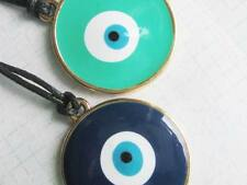 Greek evil eye MATI Talisman necklace large gold tone enamel Green or Blue