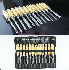 12Pcs Wood Carving Hand Chisel Tool Kit Set Wood Working Professional Gouges