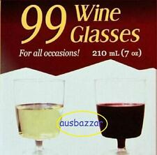 99 Clear Disposable Wine Glasses - 210ml Bulk Red White Wine Drink Plastic Cups