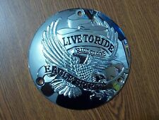 Chrome Live To Ride 3 hole Derby Cover 70-99 Harley Davidson