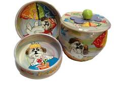 "Shih Tzu 6"", 8"" Dog Bowls and Treat Jar, Personalized at No Charge"