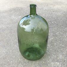 "Authentic Old French GreenGlass Demijohn ""Bonbonne"" Wine Bottle, 20 Liters"
