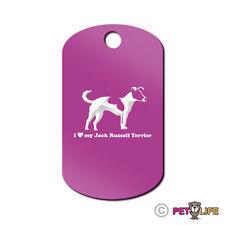 I Love My Jack Russel Terrier Engraved Keychain GI Tag dog profile jrt parson v2