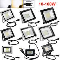 US Plug LED Flood Light 100W 50W 30W 20W 10W Outdoor Cool Warm White Lamp AC110V