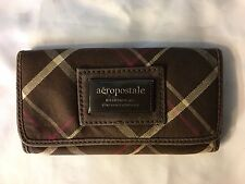 AERO AEROPOSTALE Trifold Stripped Wallet Brown