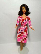 Vintage Barbie Doll Clothes * Living Barbie Fabric DRESS / Belt * Variation * GC