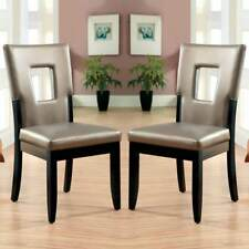 Evant I Side Dining Chair Set of 2 Key-Hole Back Design Leatherette Seat Black
