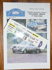 MC43 DECAL  ADDITIF 1/ 18 - TALBOT LOTUS gr 2 - TOIVONEN - 1e R A C RALLYE 1980