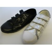 Ladies Womens Glitter Fashion Trainers Pumps Round Toe Rip Tape Size 3 4 5 6 7 8