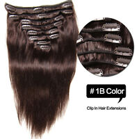 "Clip in Remy Real Human Hair Extensions New Long Straight Full Head 18""20""22""24"""